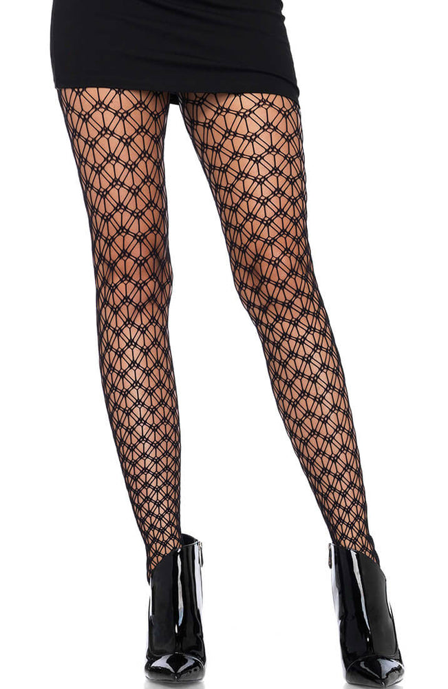 Black geographic net pantyhose