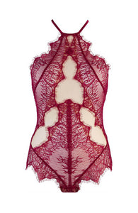 Burgundy red and see-through lace bodysuit - TEMPT