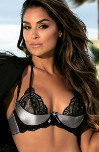 Metallic silver shelf bra with halter neck - MAGNETIC