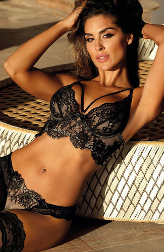 Black and beige lace bustier bra - ENCHANTING
