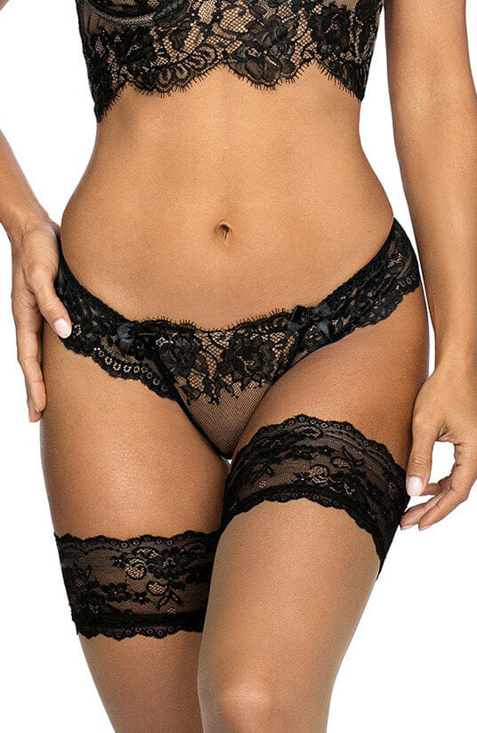 Black and beige lace string panty - ENCHANTING