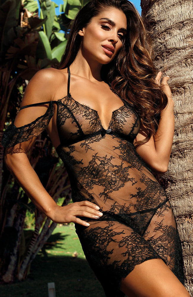 Black lace lingerie dress - FETCHING