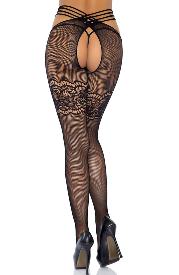Black strappy wrap around crotchless tights
