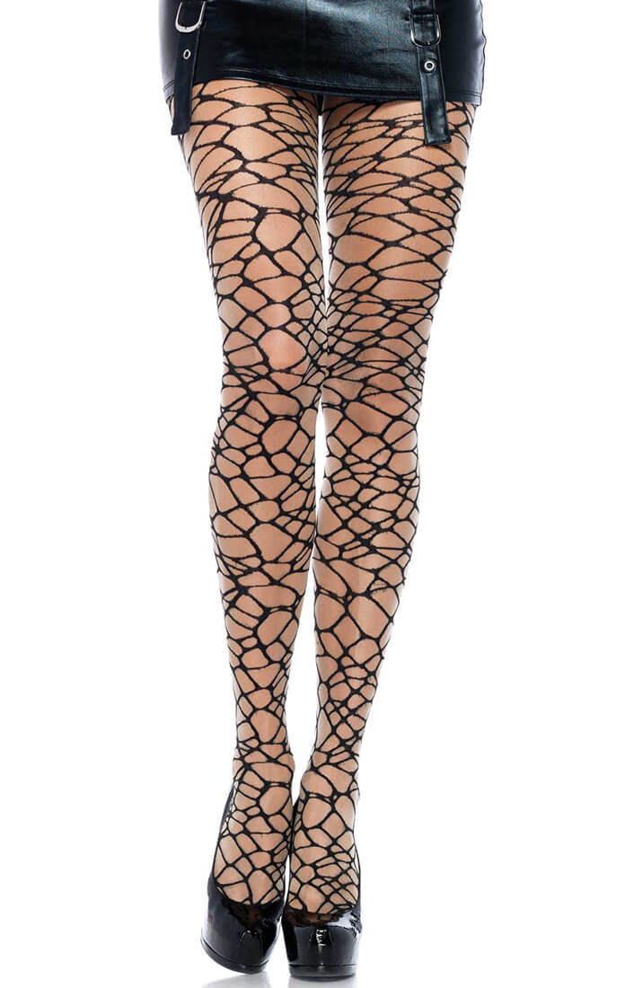 Nude pantyhose with woven crackle pattern