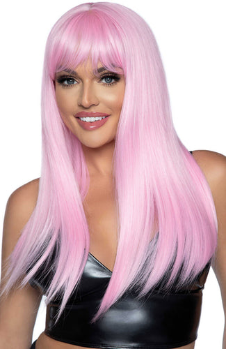Long straight pink wig with fringe