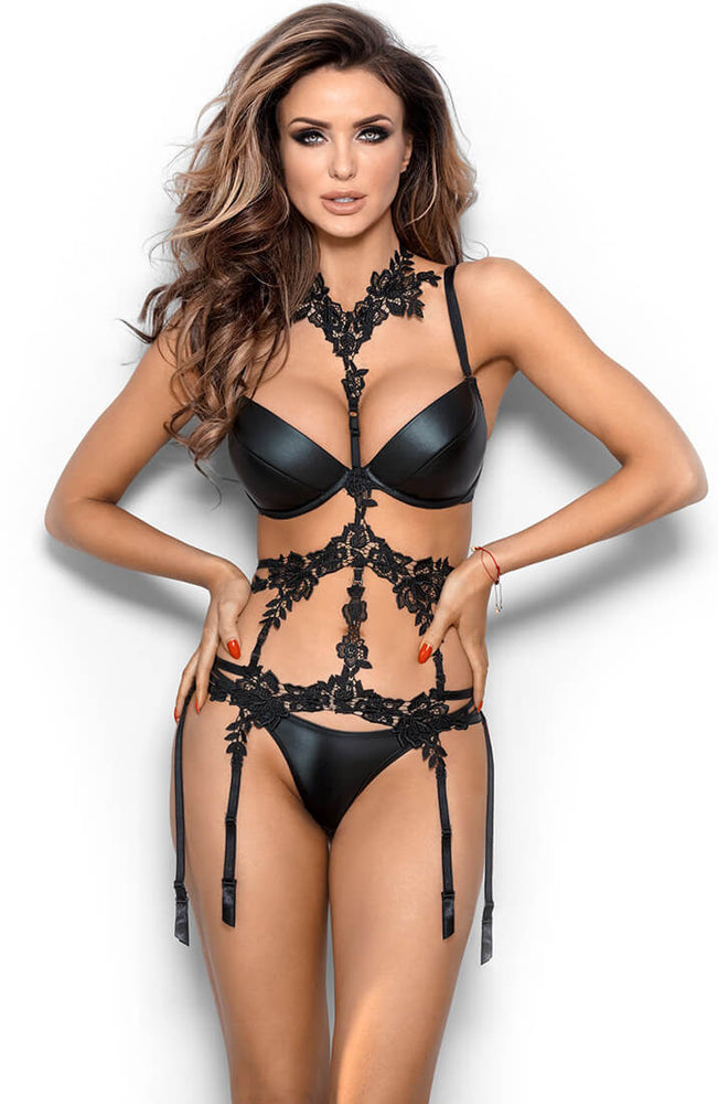 APHRODISIAC - Black wetlook push-up bra