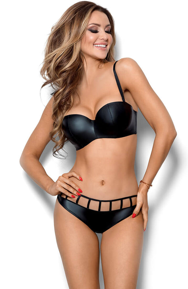 AROUSING - Black wet look balconette bra