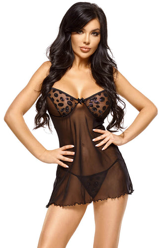 Black transparent chemise with glitter dots - Lucy
