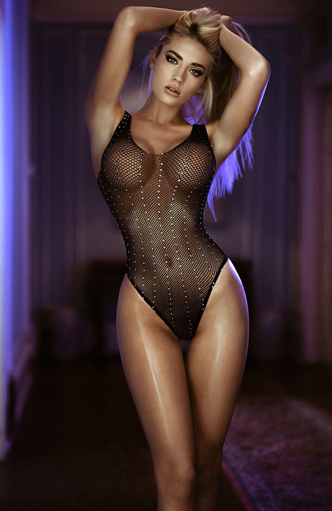 Rhinestone fishnet bodysuit - Shine Bright