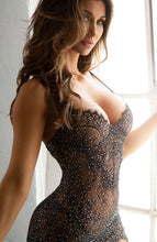 Load image into Gallery viewer, Black lingerie dress with rhinestones - Love or Lust