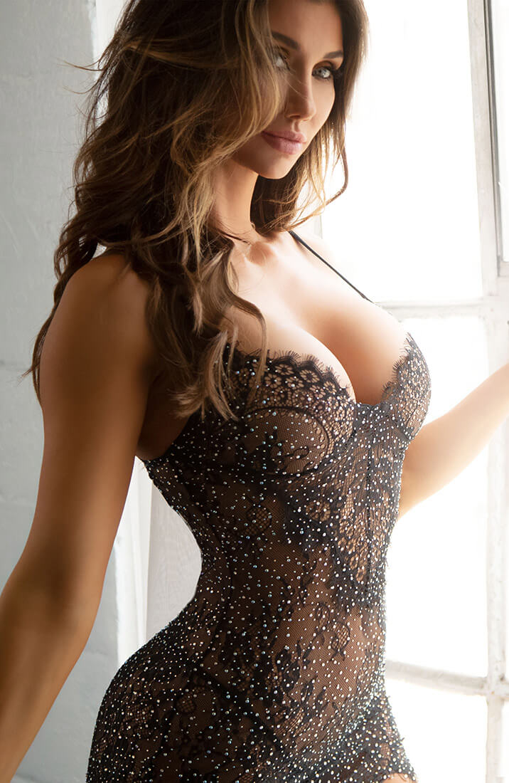 Black lingerie dress with rhinestones - Love or Lust