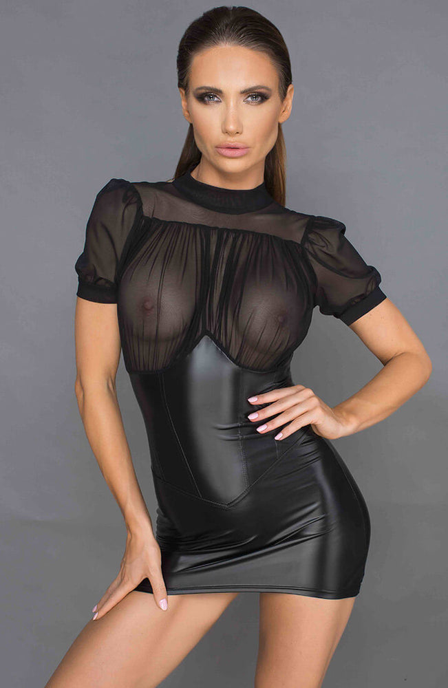 Wet look and mesh dress - Leading Lady