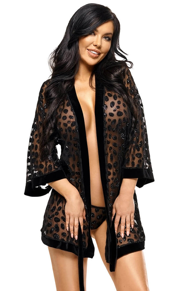 Black transparent robe with glitter dots - Loretta