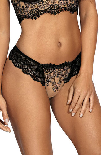 PERSUADE - See-through string panty with black lace