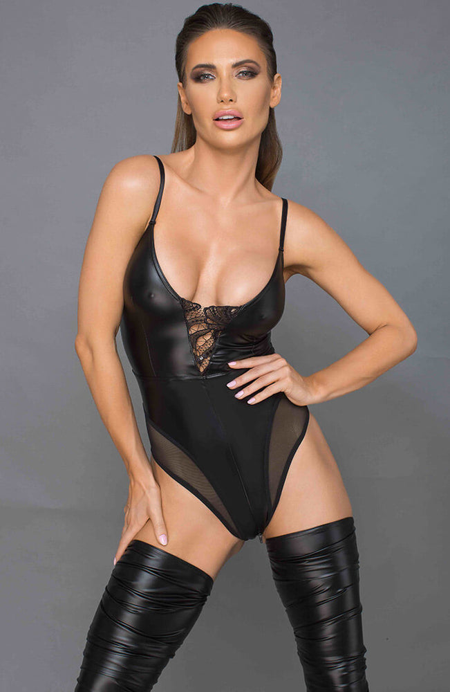 Wet look bodysuit with 2-way crotch zip - ARRIVED!