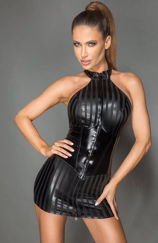 Black striped wet look dress - Both Ways