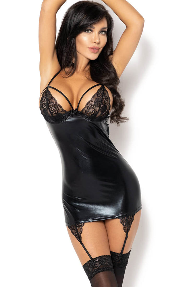 Black wet look lingerie dress - Gemma