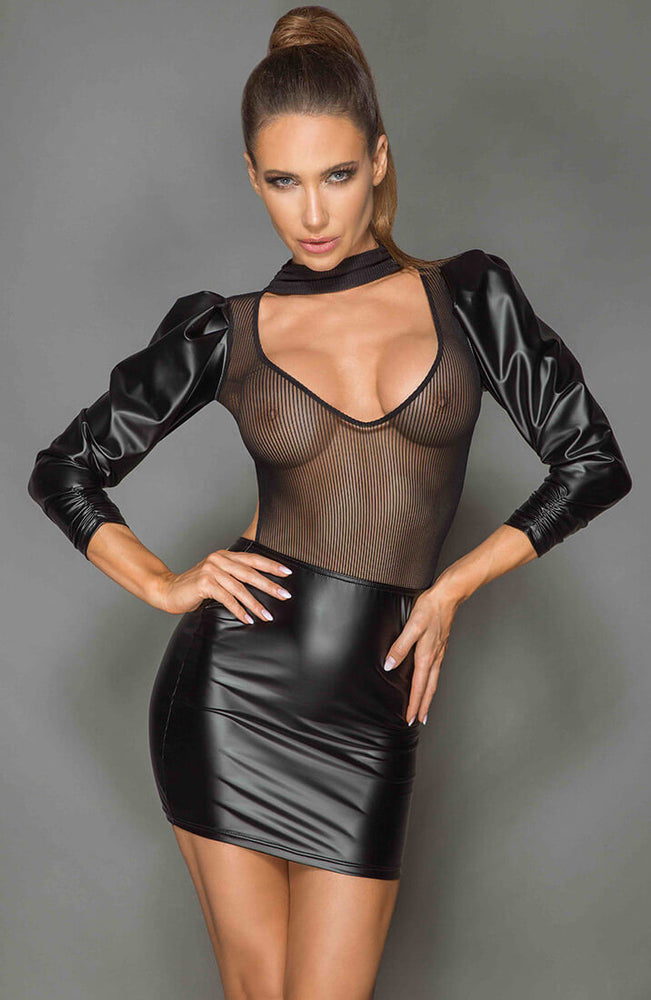 Black wet look and mesh dress - Strike a Pose