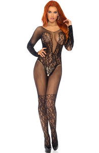 Lace and net bodystocking - Elegant Moments