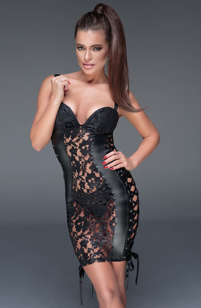 Lace and wet look dress - You Want Me So Bad