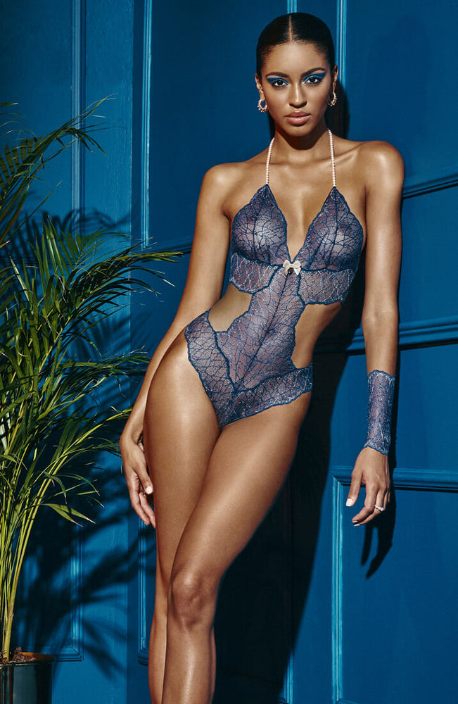 Blue bodysuit with double pearl string - Sydney Body Double