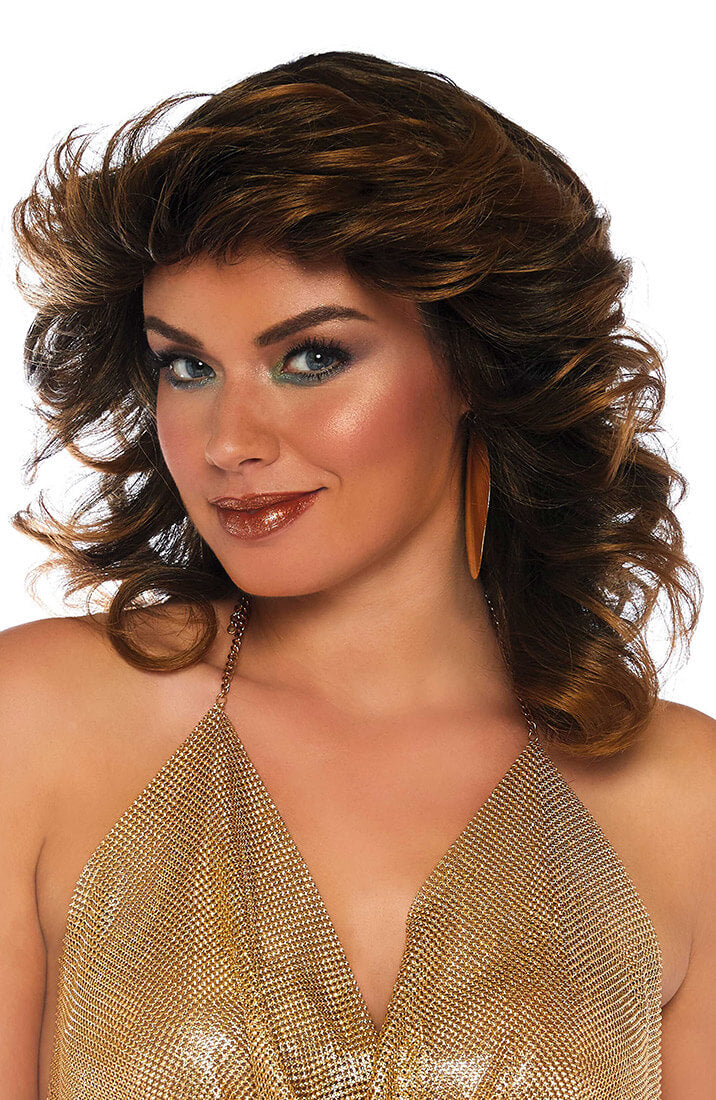 Brown 70s disco wig