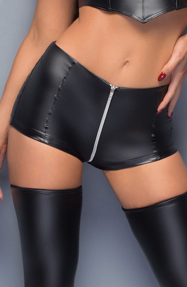 Wet look shorts with zip - COAX Me