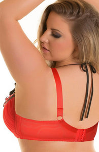 COURTING - Red and black plus size bra