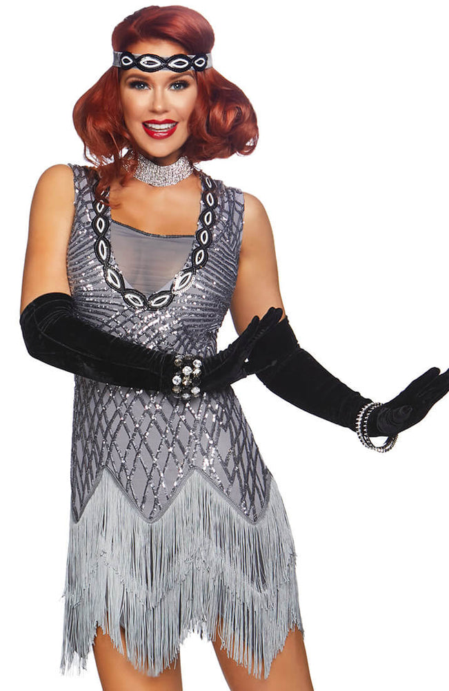 Silver Flapper girl costume - Roaring Roxy
