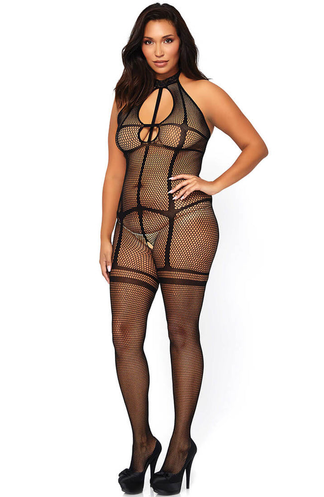 Crotchless plus size bodystocking - Cross Over