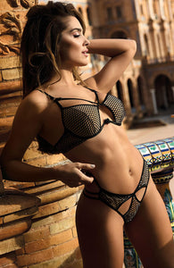 DIVERT - Black net string with cage-straps