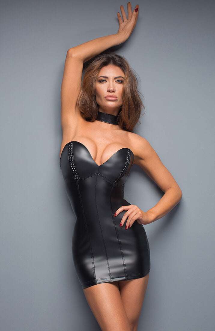 Wet look mini dress - Dare To Diva