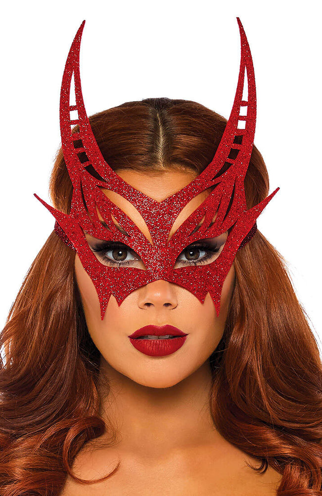 Red devil mask with glitter