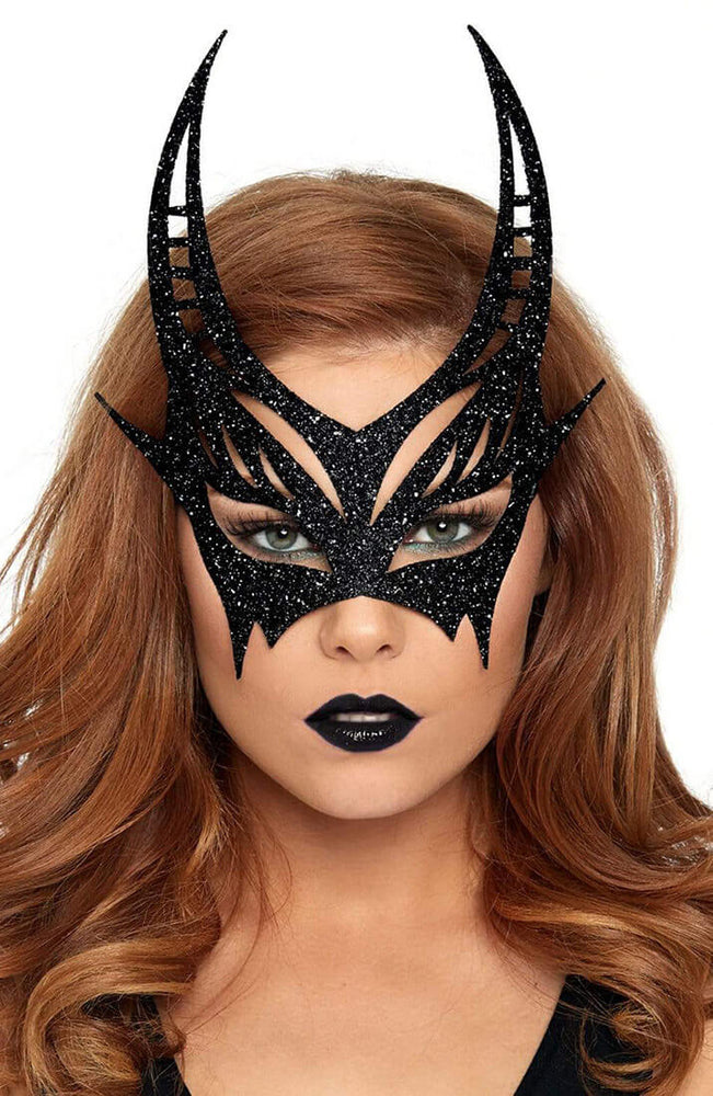 Black devil mask with glitter