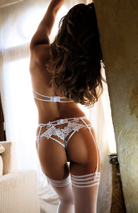 ELEGANCE - Transparent garter belt with white lace