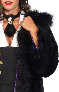 Gangster coat - Deluxe faux fur coat - Close up front
