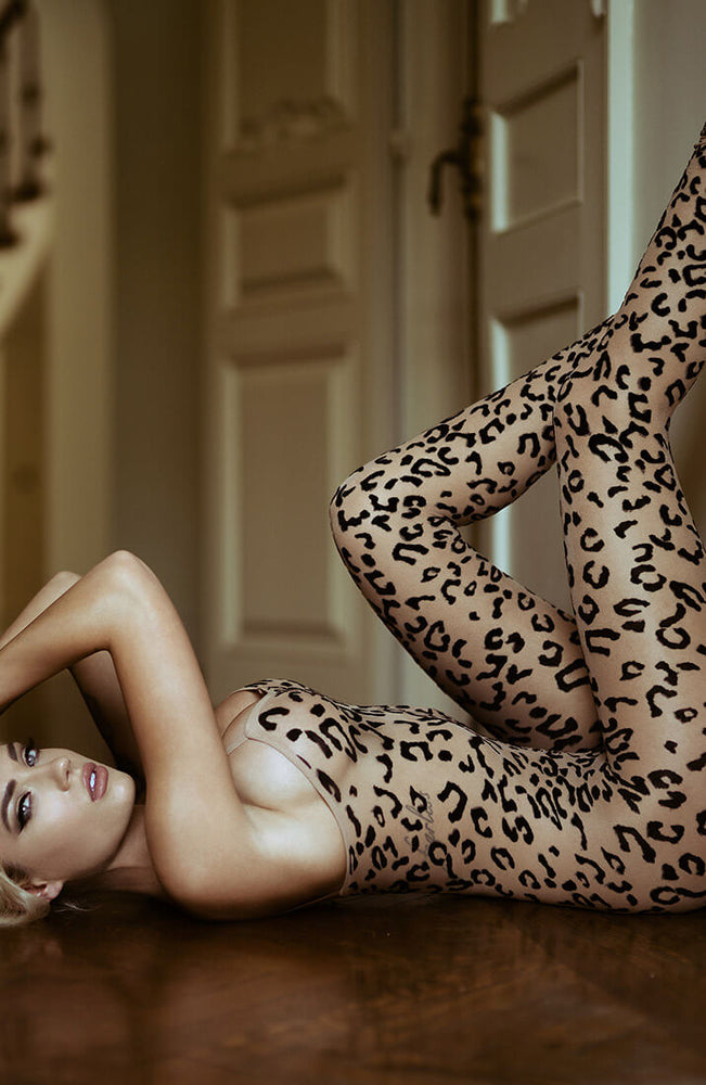 Transparent leopard nylon bodystocking - Rauuw