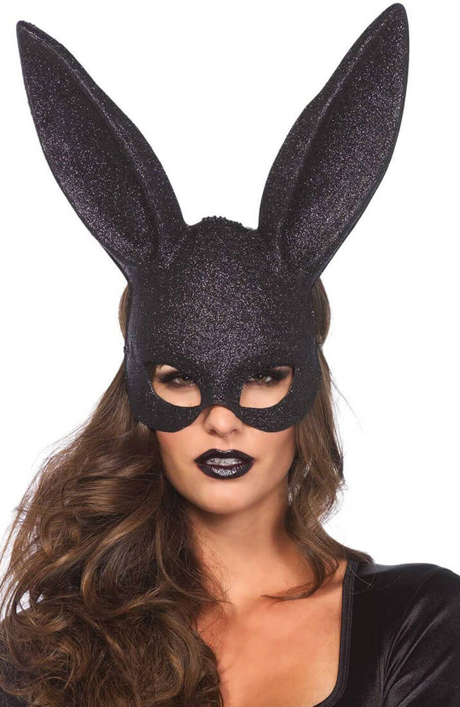 Black glitter bunny mask