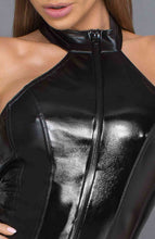 Load image into Gallery viewer, Glossy black wet look bodysuit - Pretentious