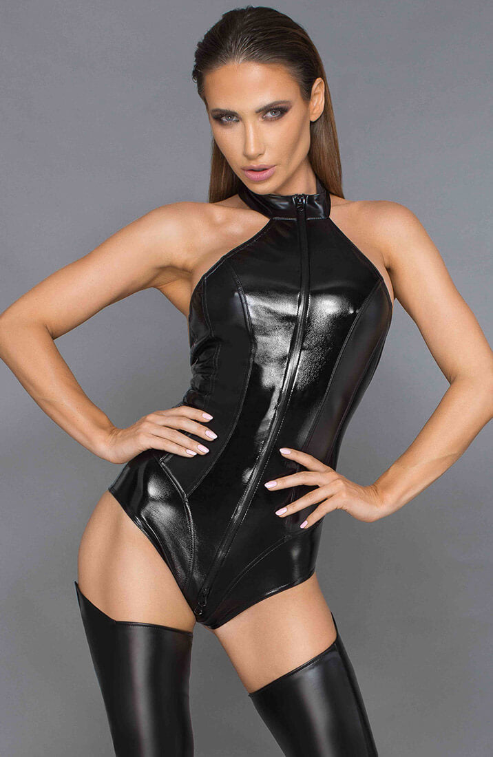 Glossy black wet look bodysuit - Pretentious