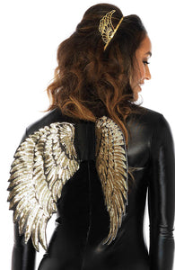 Gold sequin angel wings