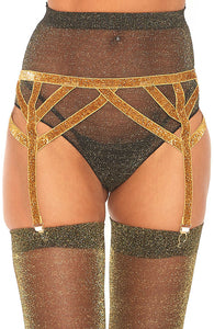 Gold garter belt with shimmer