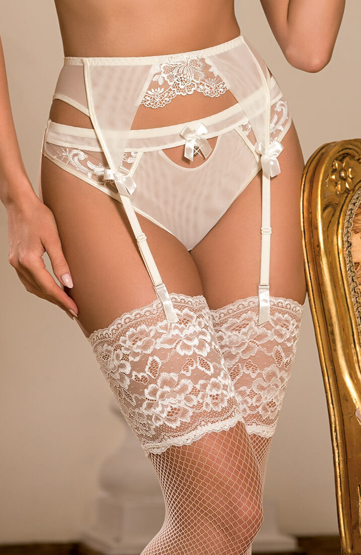 HONEYMOON - Ivory garter belt