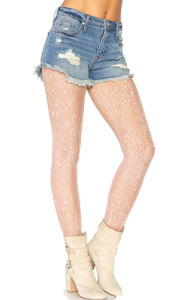 Crocheted rose gold pantyhose with glitter