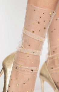 Nude tulle anklet with stars and moons