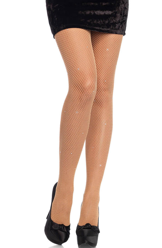 Nude fishnet pantyhose with rhinestones