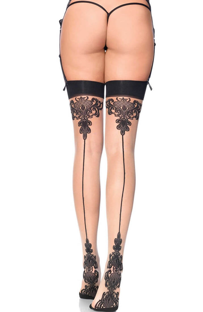Baroque cuban heel thigh highs