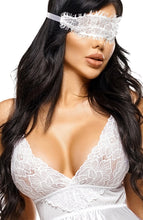 Load image into Gallery viewer, White satin chemise & blindfold - Mary
