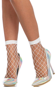 White wide fishnet ankle highs
