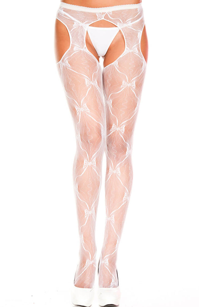 White crotchless tights with bow pattern